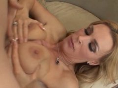 Sexy blonde with tight body takes young stud's cock in her mouth and pussy