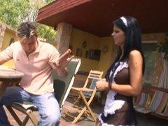 Big tits Spanish maid in playroom fucking thick cock hard