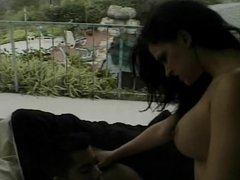 Gorgeous black-haired chick gets licked all over and fucked by a stud