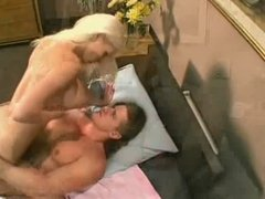 Blond creamed after sucking cock and getting ass & cunt fucked
