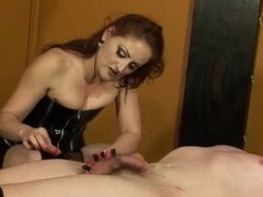 Cute redhead in leather straps guy down and plays with his dick