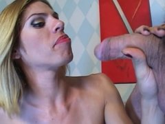 Blonde tranny takes big cock on couch