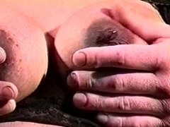 Pregnant chick in black lace gets her juicy tits fucked
