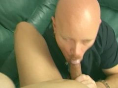 Tranny sucks cock and gets ass fucked before fucking guy on the couch