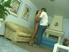Latina ho gets her ass boned and guy cums on her ass