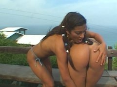 Gorgeous latinas with awesome bodies bang each other with dildos