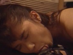 Lusty asian babe gives wild and wet head to thick cock then fucks