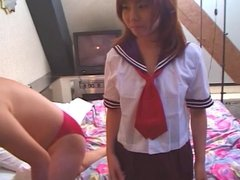 Dude eats and deep-fingers asian schoolgirl's little pussy