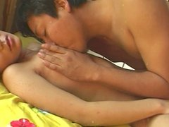 Gorgeous young asian girl with perfect tits fucks and gets a load on her bush