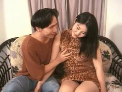 Asian babe gets boyfriends cock deep in her mouth to suck