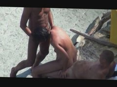 hot mom enjoys threesome on the beach