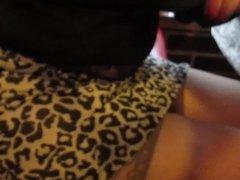 Girl in stockings in public cafe