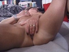 Blonde german MILF strips & masturbate first time
