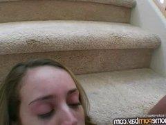 Handjob on stairs 2