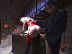 sexy bitch in red taking cock