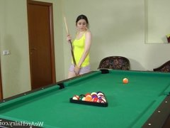 Hairy Tri gets bored playing pool