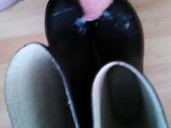 cum on rubber boots