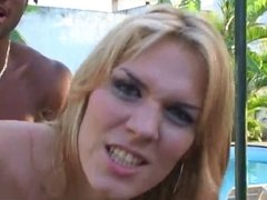 hot blonde tranny and her lover outside