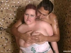 Sexy Redhead BBW Sucks Off Fan in A Shower