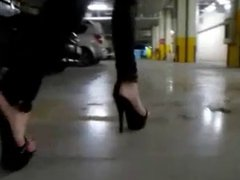 High Heels -Teen Walking in the Mall - Black Platform Heels