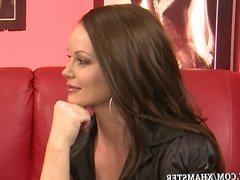 Sexy Blonde Girl Strips for Silvia Saint