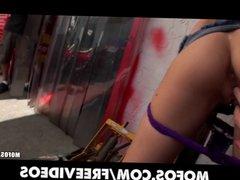 Busty tattooed freak Taylor Skye strips and fucks in public