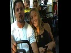 Girl flashing on bus