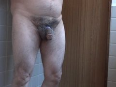 Japanese old man masturbation erect penis