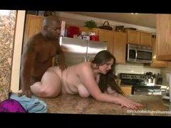 Chubby White Slut Fucks Big Black Cock In Kitchen