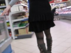 Stockings Upskirt in supermarket 3
