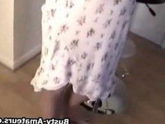 Sara Stone shaking her boobs and masturbate on cam