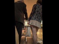 Asian MILF with a VERY SHORT SKIRT + Upskirt - NO PANTIES