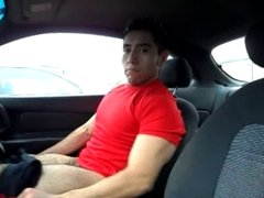 hairy latino wank in the car