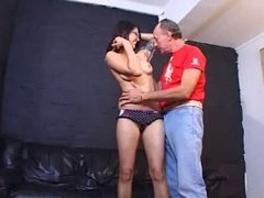 British slut Holly gets fucked on the leathersofa
