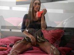 dirty girl teen GML heelfucking & upskirt in fishnet tights
