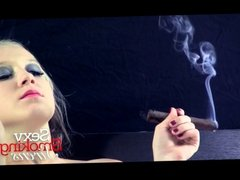 Smoking Fetish - Callie Black Lingerie Cigar