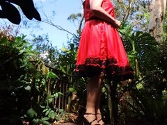 Sissy Ray outdoors in red dress part 5