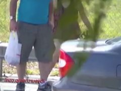 Exhibitionist Wife#45-Lana Miami Bus Stop Dare for Husband!