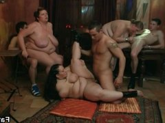 Fatty brunette is nailed after blowjob