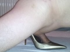 Fuck & Cumon my friend's wife Gold High Heels!
