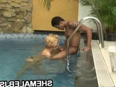 Big tit shemale Shayane Lima jerking off and sucking