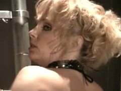 Vintage blonde in boots fucked on ladder