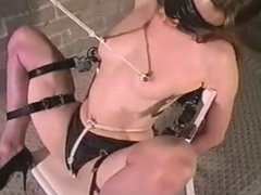 Ball-gagged self bondage with nipple weights