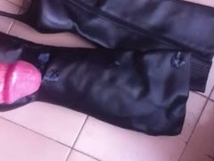 cumshot on leather black boots