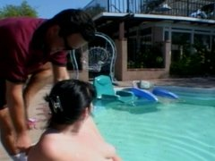 Chubby Brunette Shaved And Fucked Poolside