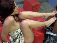 Tiffany Mynx doing footjob for BBC