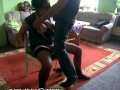 Mature MILF slave being tortured by masked man