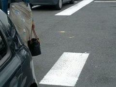 Walking on Walmart Car parc Wearing Sarong and high heels