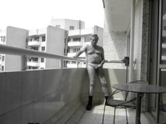 Nude Outdoor Wanking on Balcony