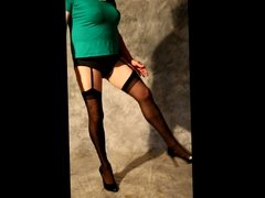 Crossdresser in Black Stockings